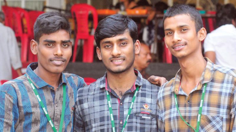 Shakthivel C, Gnanasekar D, and Gokulraj R - the child parliamentarians from Tamil Nadu - at the International Children Film Festival of Kerala