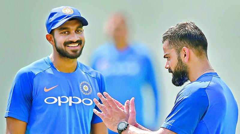 Allrounder Vijay Shankar (left) has got backing of some experts as No 4 batsman in the Indian team. He can be the second allrounder with Hardik Pandya.