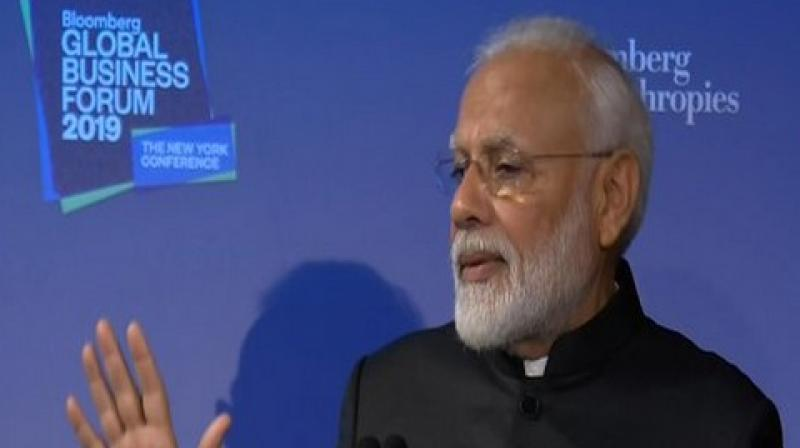 """He also told the business leaders that if they want to make in India, both for India and the world, they should """"come to India"""". (Photo: ANI)"""