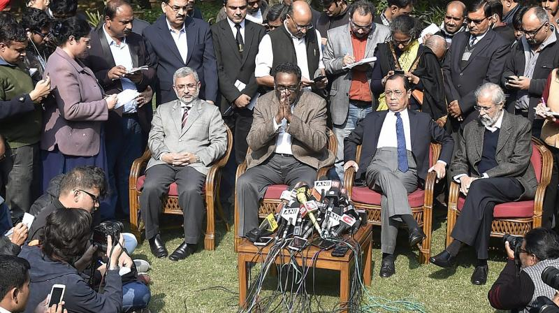 New Delhi: Supreme Court judge Jasti Chelameswar along with other judges addresses a press conference in New Delhi on Friday. (Photo: PTI)