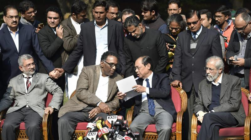 New Delhi: Supreme Court judge Jasti Chelameswar along jusctice Ranjan Gogoi, Madan Lokur and Kurian Joseph during a press conference in New Delhi on Friday. (Photo: PTI)