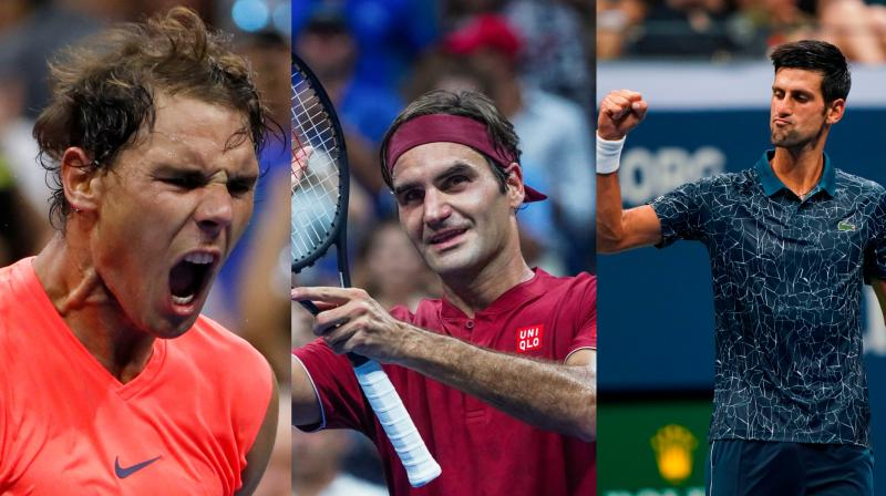With Novak Djokovic at No. 1, Rafael Nadal at No. 2 and Roger Federer at No. 3 on Monday, that trio of tennis greats leads the season's final ATP rankings for the seventh time. (Photo: AFP / AP)