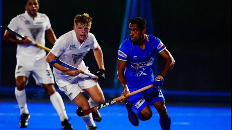 Skipper Harmanpreet Singh put India ahead in the second minute by converting a Penalty Corner, but New Zealand struck back in the last quarter through two well-crafted field goals. (Photo: Twitter/Hockey India)