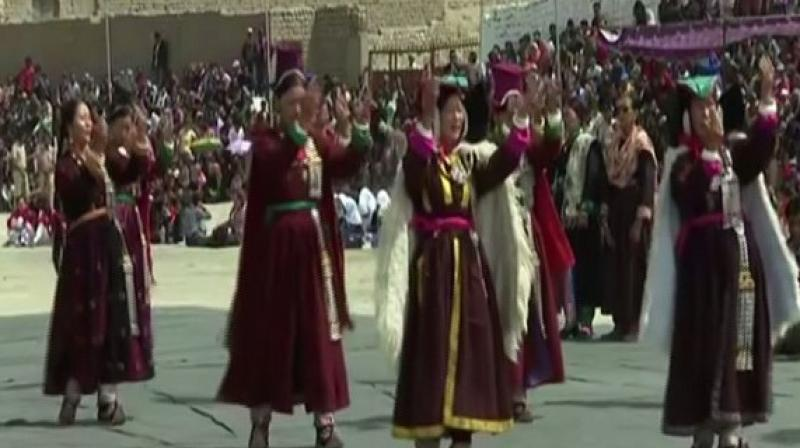 Women dressed in traditional dresses performed the Jabro Dance form wishing everyone a very Happy Independence Day. (Photo: ANI)