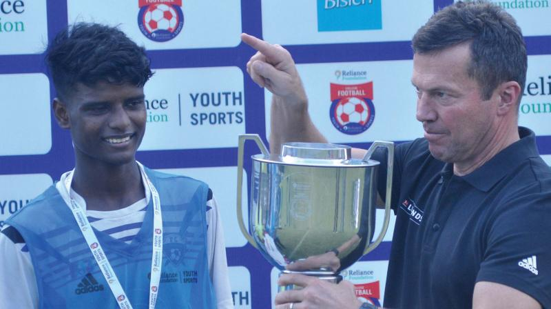 German World Cup-winning captain Lothar Matthaus speaks to a player who took part in the Kochi City Football Final in Kochi on Tuesday. The legendary midfielder's visit to the country is part of Bundesliga Legends Tour.