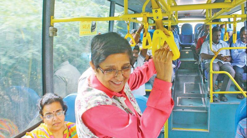 Puducherry Lt Governor Kiran Bedi travels in a bus to a farm project (Photo: DC)