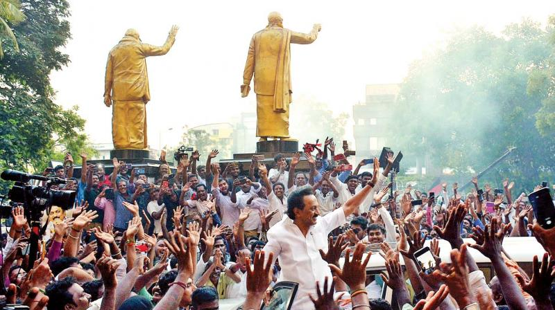 DMK president M. K. Stalin receives tumultuous welcome when he arrived at Anna Arivalayam Thursday evening, as the party established clear leads in various constituencies even as the counting of votes was still going on at many counting centres. —E.K.Sanjay