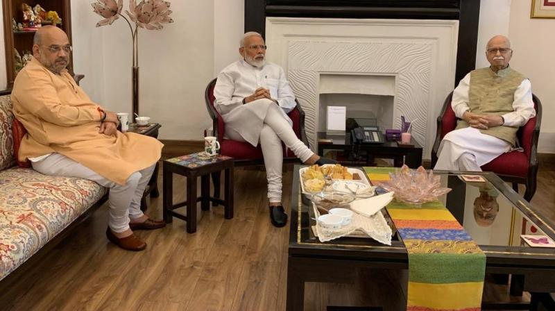 Prime Minister Narendra Modi and BJP president Amit Shah on Friday visited veteran leaders LK Advani and Murli Manohar Joshi to seek their blessings after the BJP-led NDA won a second term with a resounding majority. (Photo: Twitter/ @narendramodi)