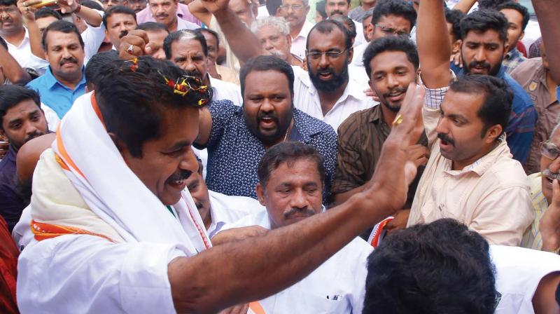 UDF workers  organise a reception for Adoor Prakash, the winning UDF candidate, at Venjarammoodu on Friday. — DECCAN CHRONICLE