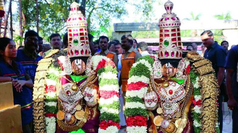 File photo of the processional detiies of Goddess Padmavathi with Lord Balaji.
