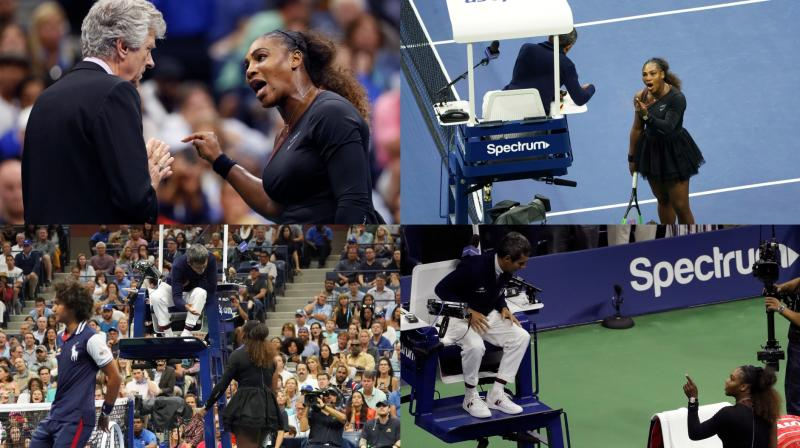 "Serena Williams claimed that chair umpire Carlos Ramos meted out penalties for infractions that male players could have gotten away with, specifically a violation for verbal abuse after she called him a ""thief"" and a ""liar"" for warning her for coaching from her players' box, then docking her a point when a racquet abuse violation followed. (Photo: AFP / AP)"