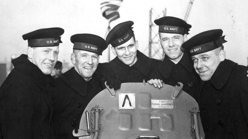 This Feb. 14, 1942 photo provided by the U.S. National Archives shows the five Sullivan brothers on board USS Juneau (CL-52) at the time of her commissioning ceremonies at the New York Navy Yard. The brothers who were all killed in the World War II sinking of the USS Juneau on Nov. 13, 1942 (Photo: AP)