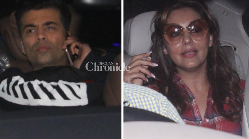 Karan Johar and Gauri Khan were seen arriving for Ranbir Kapoor's housewarming bash on Thursday. (Photo: Viral Bhayani)