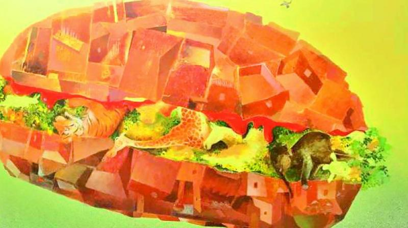 Artist Anish Nandy exhibits a burger with flora and fauna.