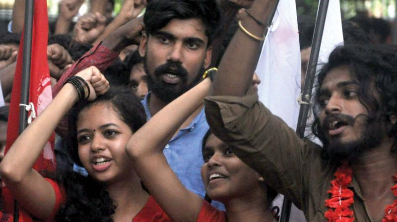 SFI activists of Maharaja's college take out a victory march after the elections in Kochi on Wednesday. (Photo: DC)
