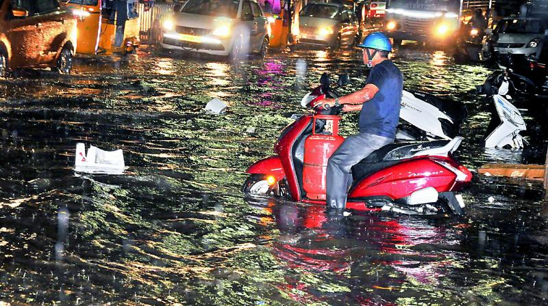 Sudden rain led to water logging at RP Road in Secunderbad on Thursday.  (Photo:P. Surendra)