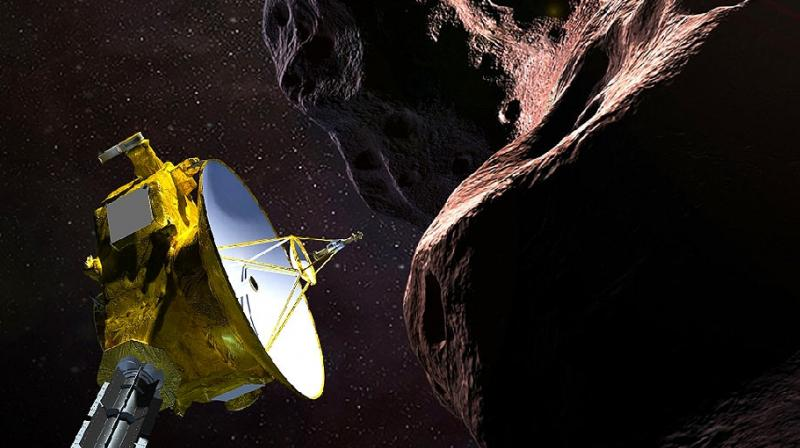 "This artist's illustration obtained from NASA on December 21, 2018 shows the New Horizons spacecraft encountering 2014 MU69 – nicknamed ""Ultima Thule"" – a Kuiper Belt object that orbits one billion miles beyond Pluto. (Photo: AFP)"