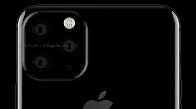 The 2019 iPhone XI pictured with a triple camera setup. (Photo: @OnLeaks/Digit)