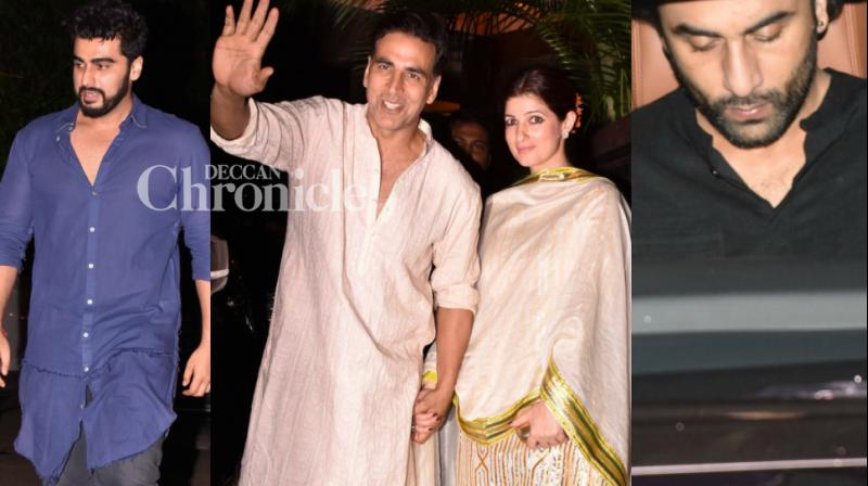 Several Bollywood stars were snapped as they attended a friend's Diwali bash in Mumbai on Thursday before the festival starts few days from now. (Photo: Viral Bhayani)