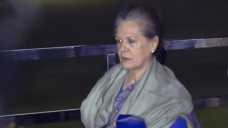 Sonia Gandhi leaves after the CWC meeting in New Delhi on Saturday.  (PTI)