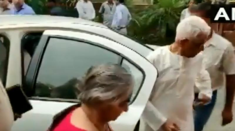 Savitri and Narayanan Sitharaman arrived in a separate car in Parliament. (Photo: ANI)
