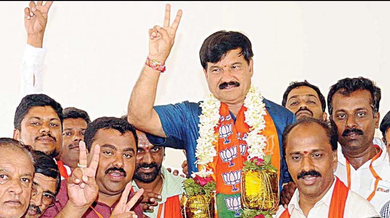 BJP candidate SA Ramadas who won Krishnaraja constituency in Mysuru. (Photo:KPN)