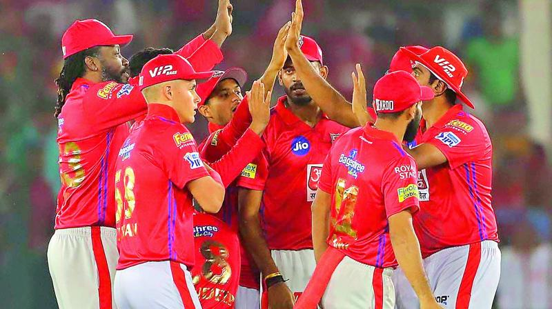 Kings XI Punjab players celebrate the wicket of Jonny Bairstow of Sunrisers Hyderabad in their match in Mohali on Monday.(Photo: BCCI)