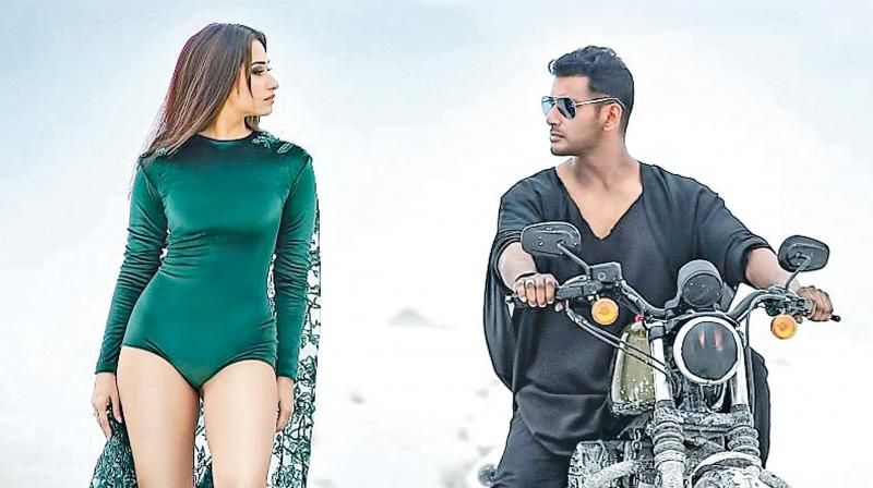 Vishal and Tamannah in a still from the movie Action
