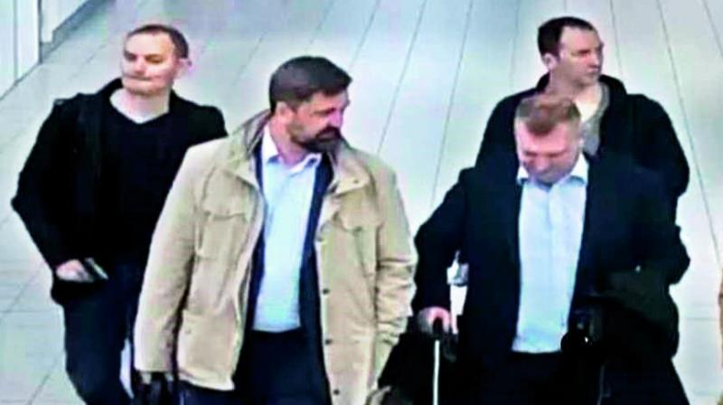 Images of the four Russian agents who tried to hack into global chemical weapons watchdog a month after the Salisbury novichok attack.   CCTV shows them when they were kicked out of the Netherlands