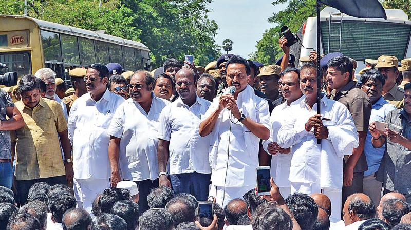 DMK working president M. K. Stalin addresses his party workers, before being arrested on Saturday for attempting to lay siege to Raj Bhavan demanding the immediate release of 192 party workers, arrested at Namakkal on Friday.  (Photo:DC)