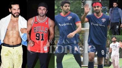 On Sunday night, All-Stars team members Ranbir Kapoor, Abhishek Bachchan, Dino Morea, Abhimanyu Dassani, Ahan Shetty and others were gripped in footbal fever. (Photos: Viral Bhayani)
