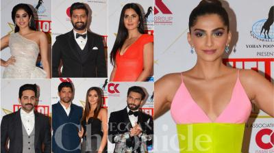 Bollywood celebs like Sonam Kapoor, Ranveer Singh, Vicky Kaushal, Janhvi Kapoor and others were spotted at Hello Magazine's Hall of Fame Awards' night. (Photos: Viral Bhayani)