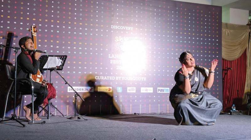 Artistes perform at the Language Festival in Bengaluru on Sunday