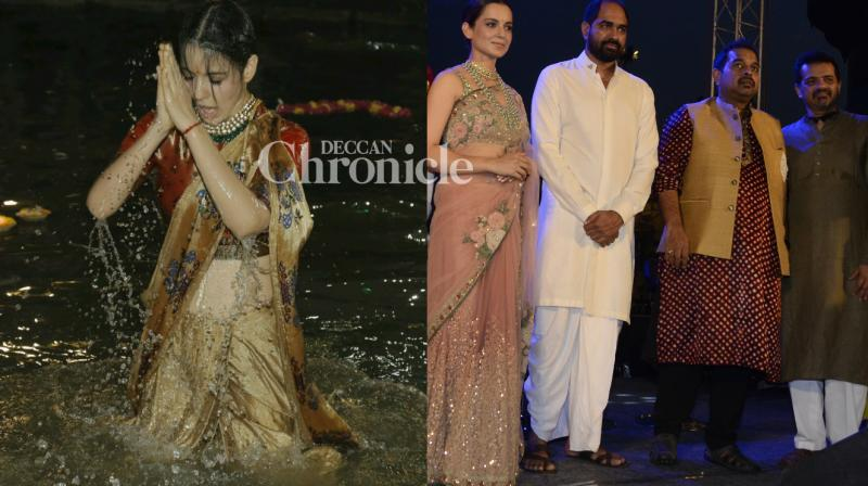 Kangana Ranaut performed 'aarti' at the banks of River Ganga and took a dip in it to launch her film on the Rani of Jhansi, titled 'Manikarnika' on Thursday. (Photo: Viral Bhayani)