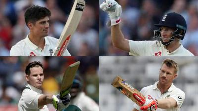 It will be a battle between Joe Root and Alastair Cook vs Steve Smith and David Warner's men in the upcoming Ashes series. (Photo: AP)