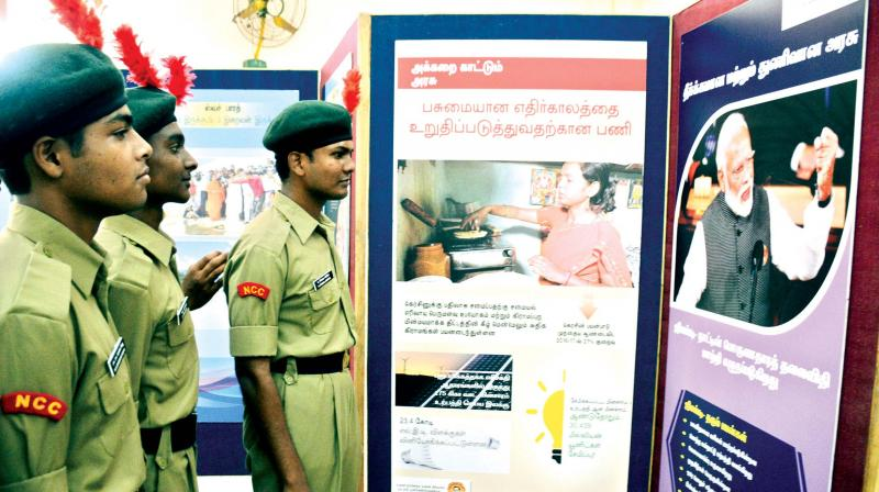 NCC cadets look at the Swachh Bharat exhibition at Loyala college on Monday. IPhoto: DC)