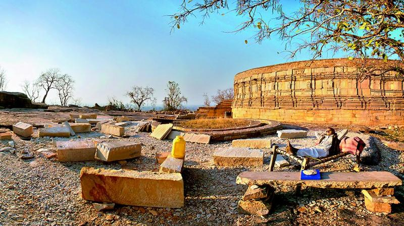 Amid the ruins of an ancient occult Tantric temple at Mitawali in Chambal Valley.
