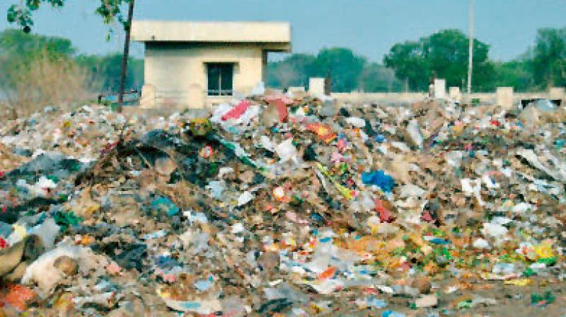 Dump yard in the middle of a residential area in Nallagandla in the tech zone.