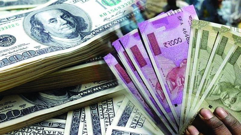 At the interbank foreign exchange, the Indian currency opened lower at 71.26 and fell further to 71.33 to the US dollar. It finally settled at 71.28 a dollar, a dip of 31 paise over its previous close.