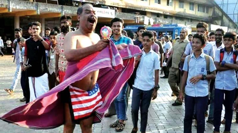 Alencier Ley performing a street play