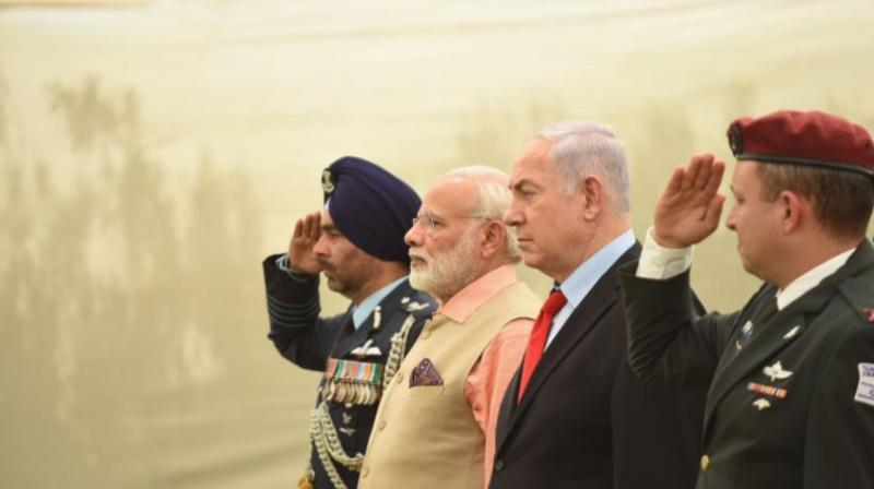 Modi, who became the first Indian prime minister to visit the Jewish nation, signed seven agreements to boost bilateral cooperation in key areas like science and technology, water, research and space. (Photo: Twitter)