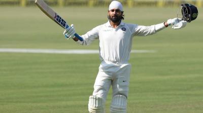 Murali Vijay celebrates after scoring his century against Sri Lanka. (Photo: BCCI)