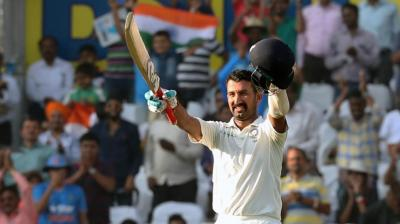 Cheteshwar Pujara celebrates after scoring his century against Sri Lanka. (Photo: BCCI)