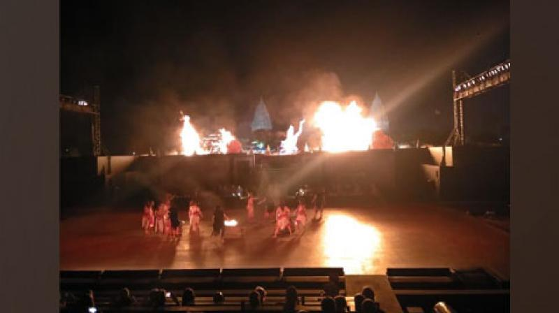 Another major attraction in Yogyakarta city for locals and tourists alike is the musical rendition of the epic tale Ramayana that is performed at regular intervals at the historic 9th century Prambanan temple. (Photo: ANI)