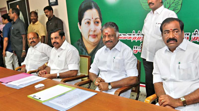 Chief Minister Edappadi K. Palaniswami and Deputy Chief Minister  O. Paneerselvam at the party meeting held on Wednesday. (Photo: DC)