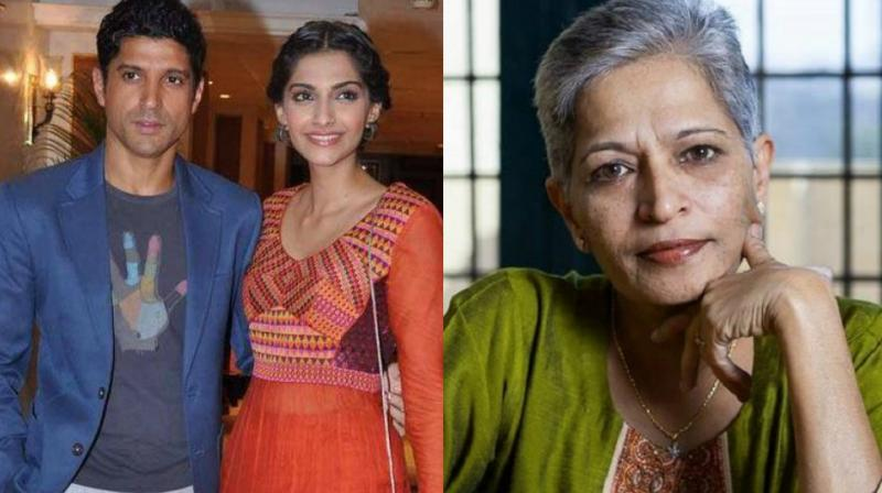 Sonam Kapoor, Farhan Akhtar were among the celebrities who expressed shock and anger at Gauri Lankesh's murder.