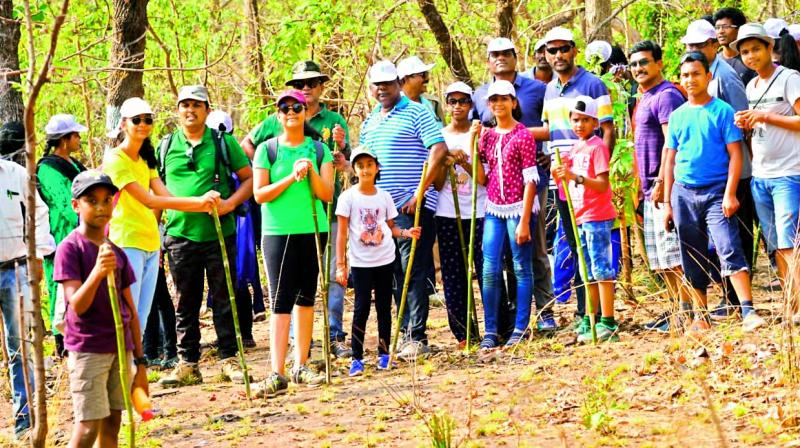 Participants at the trekking  camp — 'Forest Bathing' in the Pandem Reserve Forest  in Mahabubabad.
