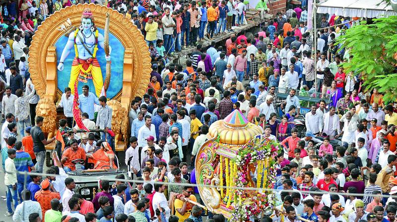 Thousands participate in Shobha Yatra organised on the occasion of Sri Rama Navami in Hyderabad.   (Photo: S. Surender Reddy)