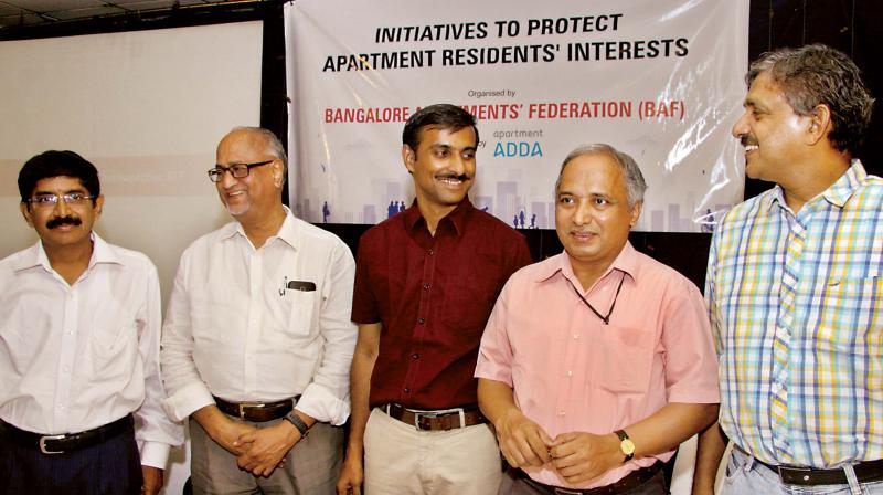 Former KSPCB chief environmental officer Mr Nanda Kumar,  waste water expert Dr Ananth Kodavasal, IISC scientist Dr TV Ramachandra and Architect Mr Jaigopal Rao at the panel discussion on Saturday.