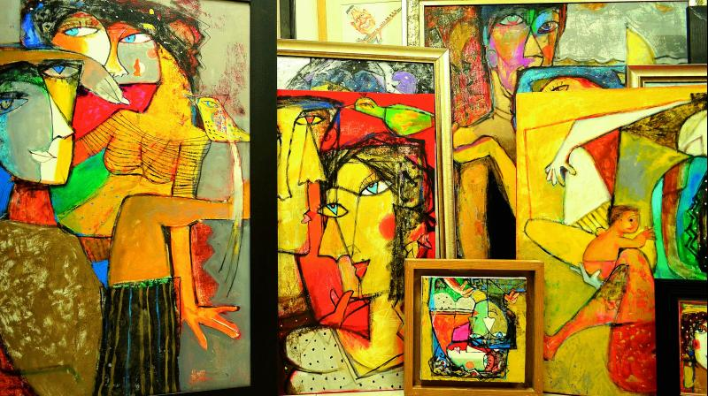 The series of paintings which were displayed at Jehangir art gallery, exemplify abstract nuances akin to music as well as a prominent poetic rhythm.